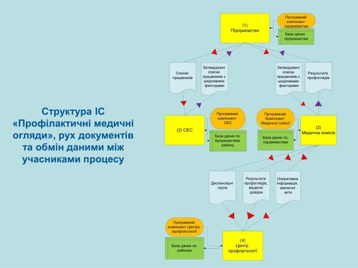 Структура ІС «Профілактичні медичні огляди», рух документів та обмін даними між учасниками процесу