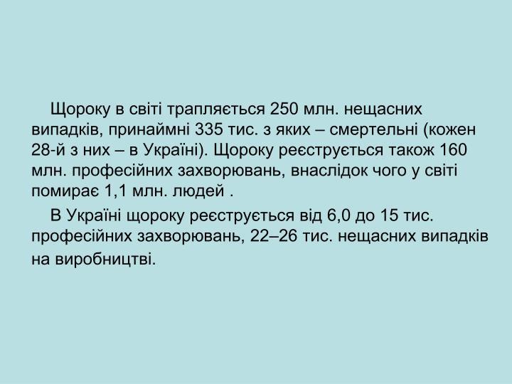 Щороку в світі трапляється 250 млн. нещасних випадків, принаймні 335 тис. з яких – смертельні (кожен 28-й з них – в Україні). Щороку реєструється також 160 млн. професійних захворювань, внаслідок чого у світі помирає 1,1 млн. людей .