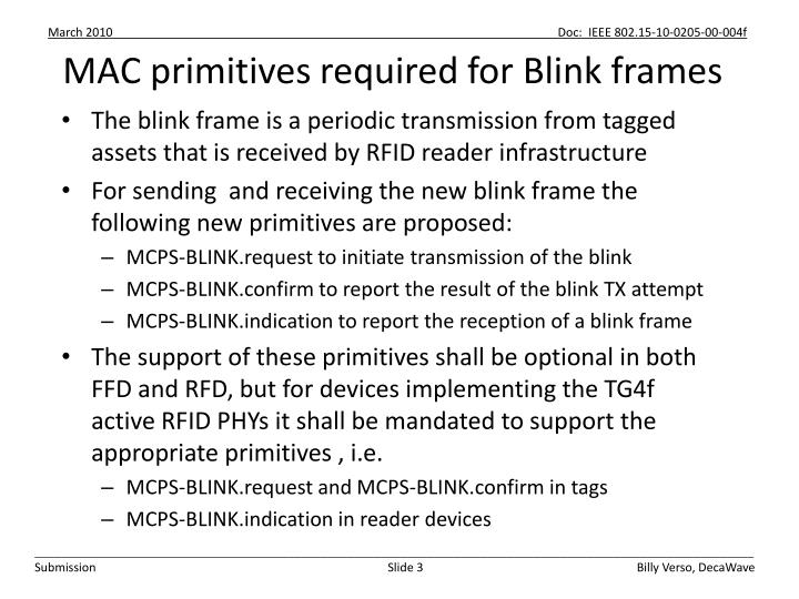Mac primitives required for blink frames