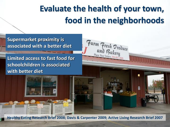 Evaluate the health of your town,