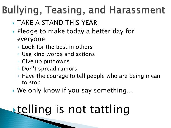 Bullying, Teasing, and Harassment