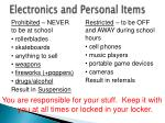 electronics and personal items