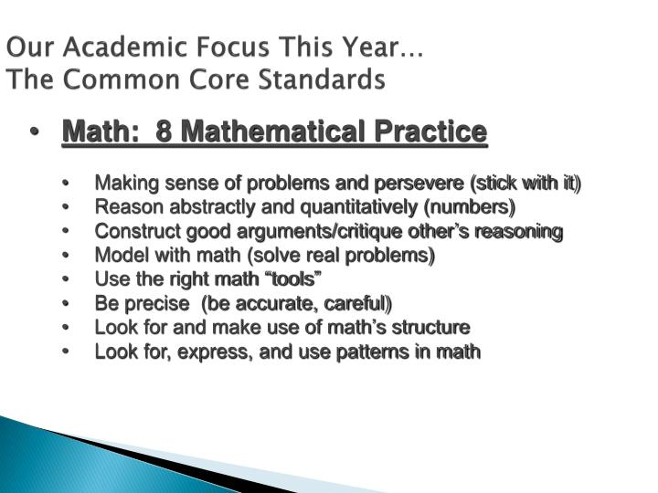 Our Academic Focus This Year…