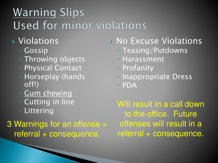 Warning Slips