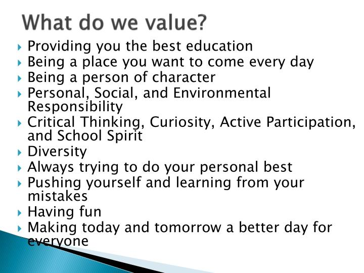 What do we value?