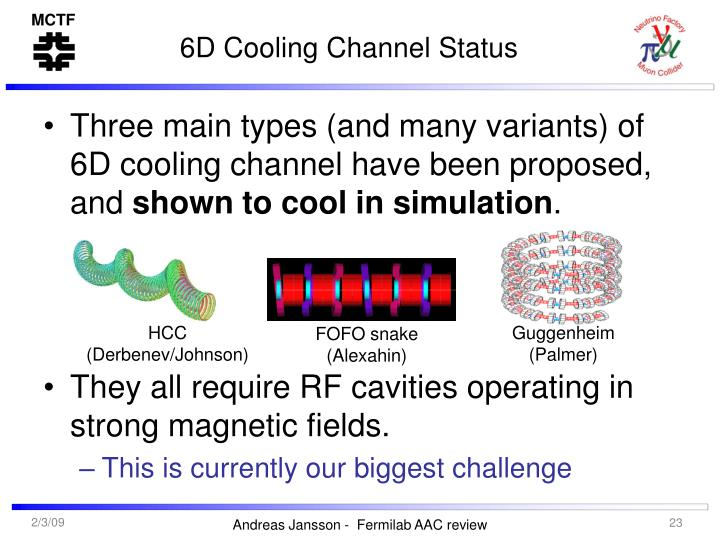 6D Cooling Channel Status