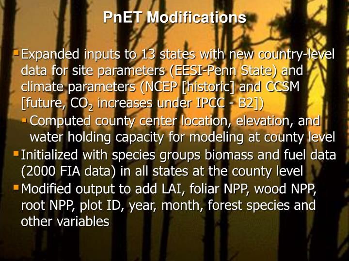 PnET Modifications