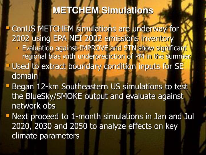 METCHEM Simulations