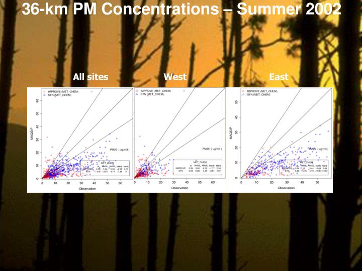 36-km PM Concentrations – Summer 2002