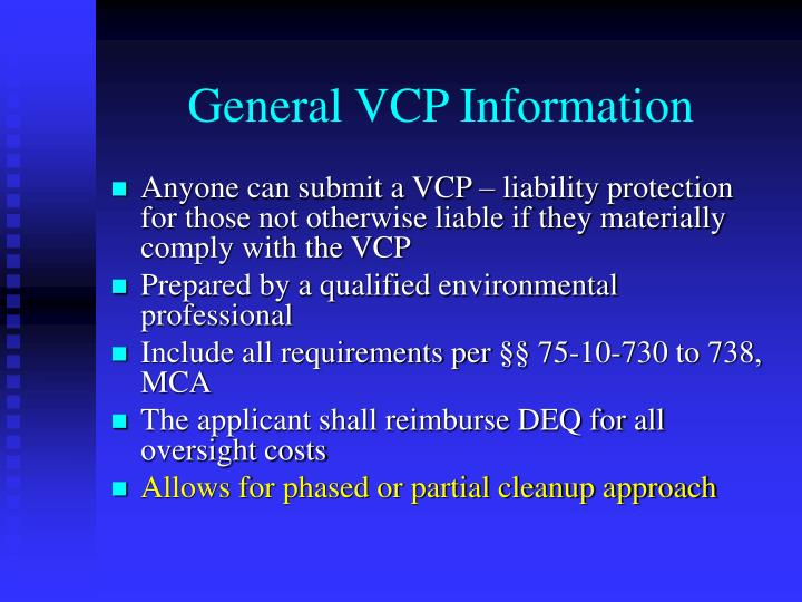 General VCP Information