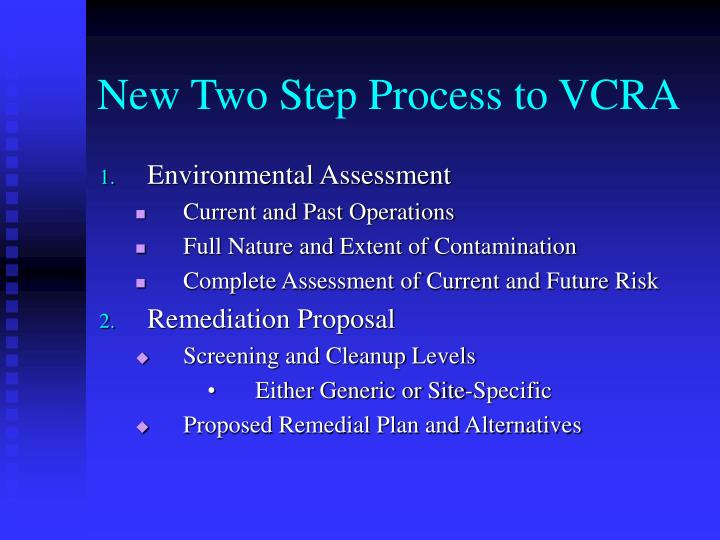 New Two Step Process to VCRA