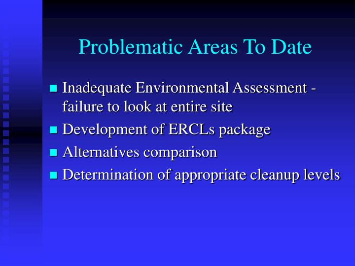 Problematic Areas To Date