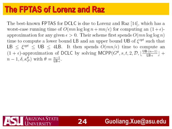 The FPTAS of Lorenz and Raz