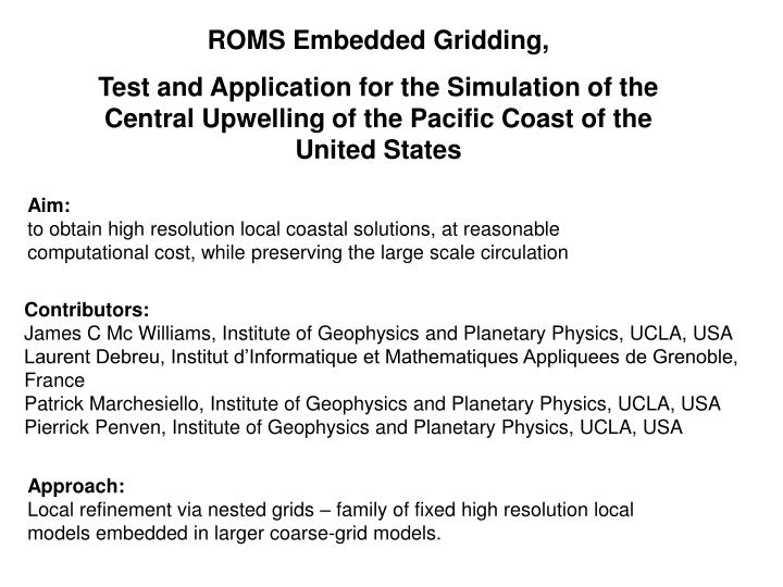 ROMS Embedded Gridding,