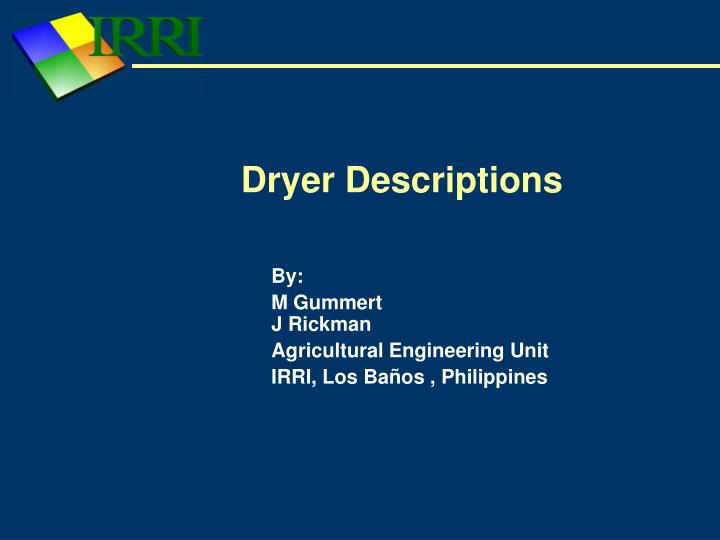 Dryer descriptions