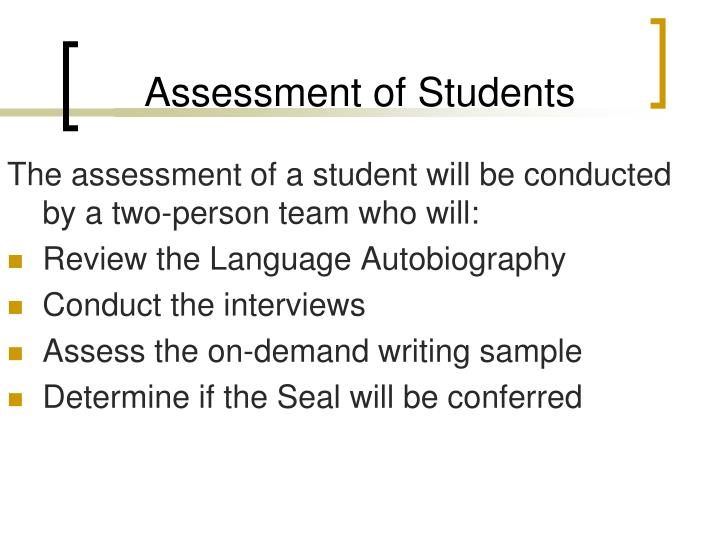 Assessment of Students