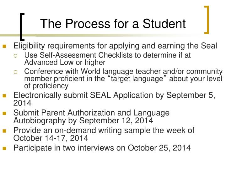 The Process for a Student