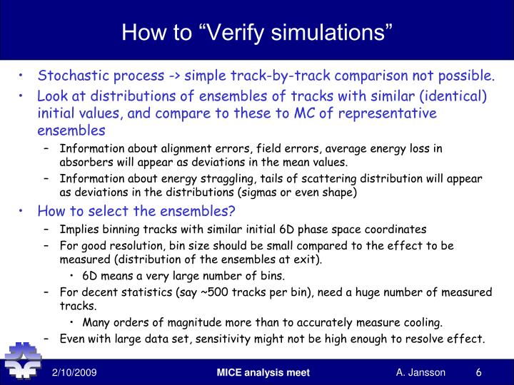 "How to ""Verify simulations"""