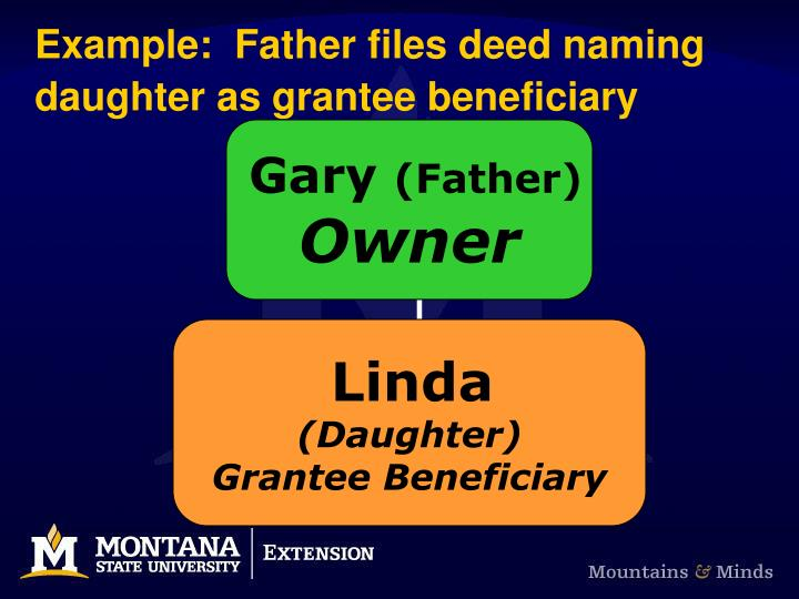 Example:  Father files deed naming daughter as grantee beneficiary