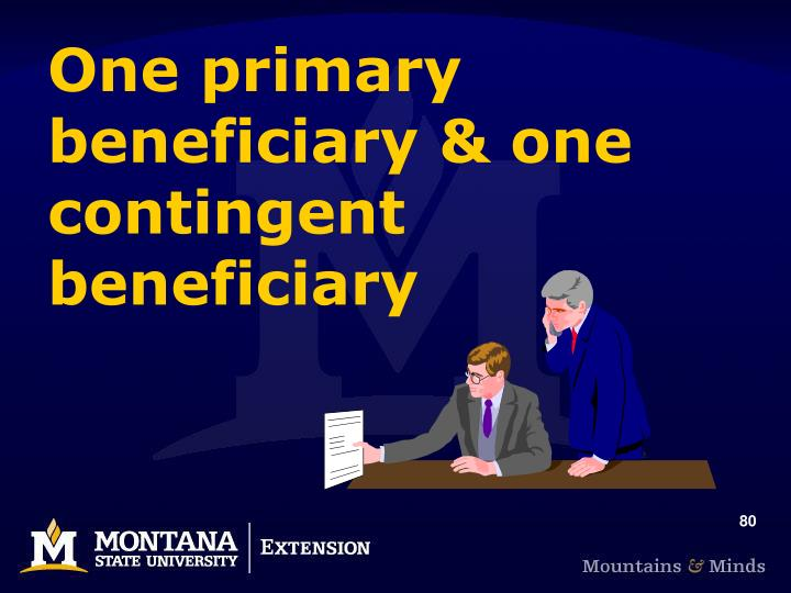 One primary beneficiary & one contingent beneficiary