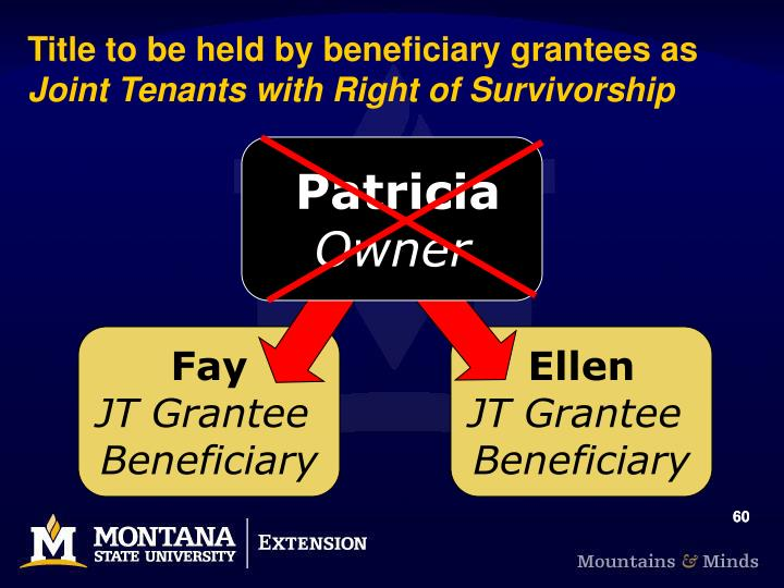 Title to be held by beneficiary grantees as