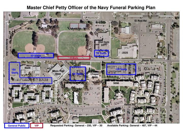 Master Chief Petty Officer of the Navy Funeral Parking Plan