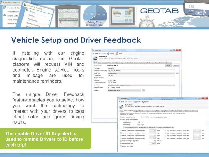 Vehicle Setup and Driver Feedback