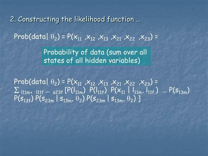 2. Constructing the likelihood function …