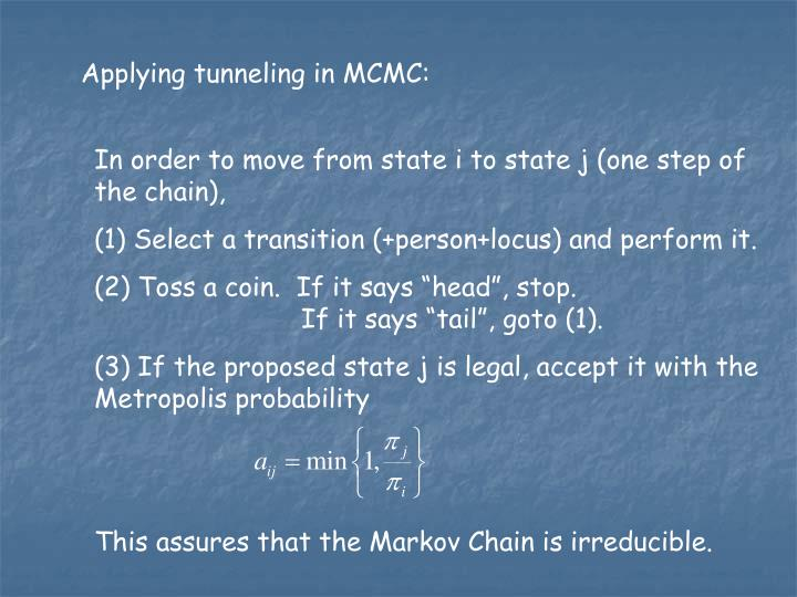 Applying tunneling in MCMC: