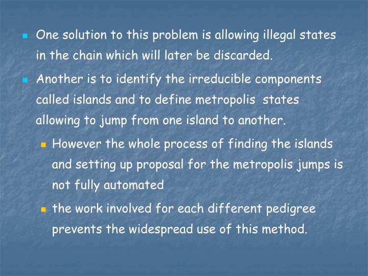 One solution to this problem is allowing illegal states in the chain which will later be discarded.