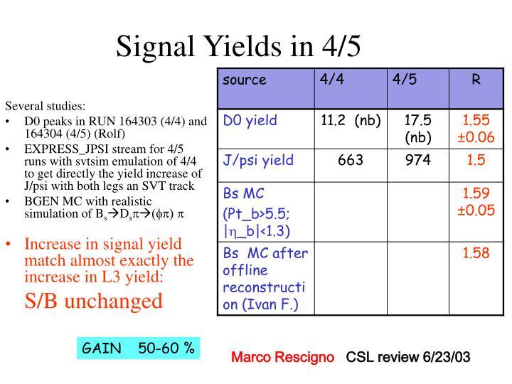 Signal Yields in 4/5