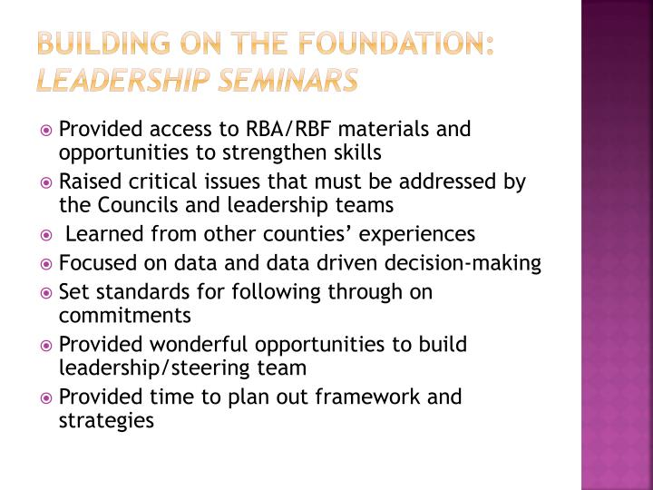 Building on the foundation: