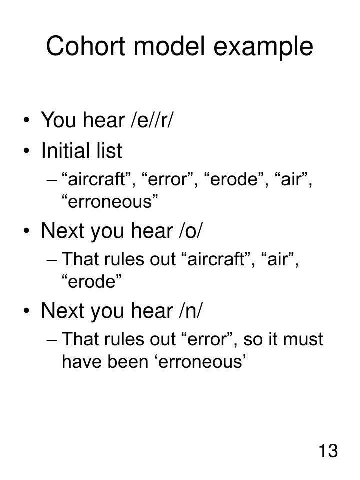 Cohort model example