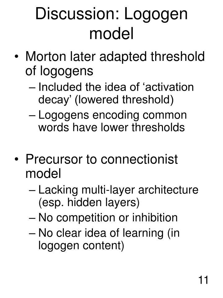 Discussion: Logogen model