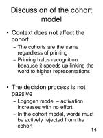 discussion of the cohort model