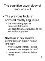 the cognitive psychology of language 1