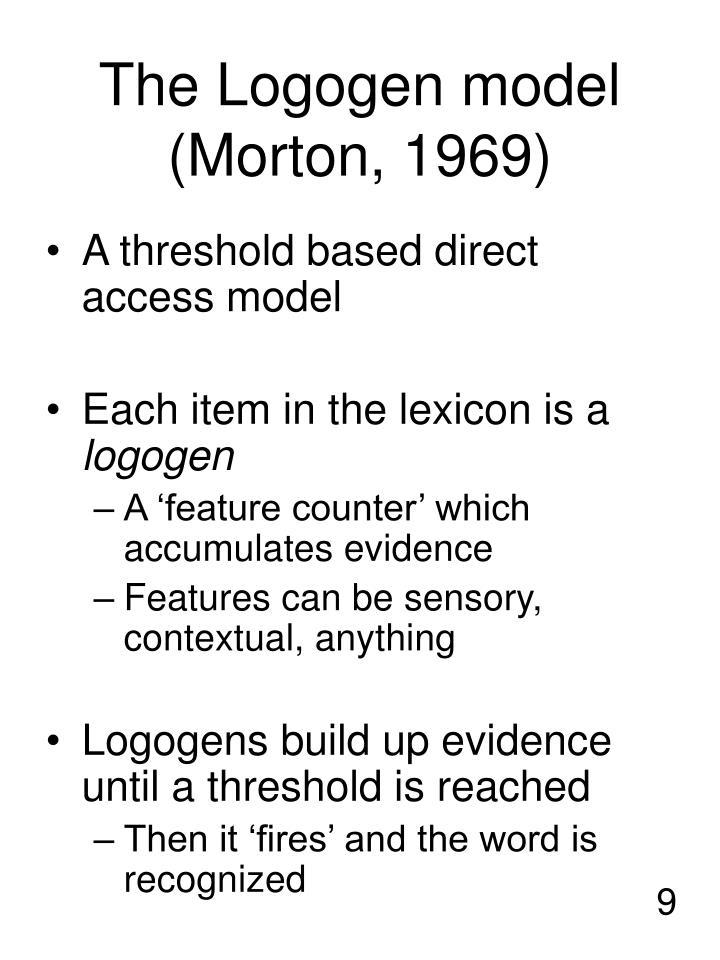 The Logogen model (Morton, 1969)