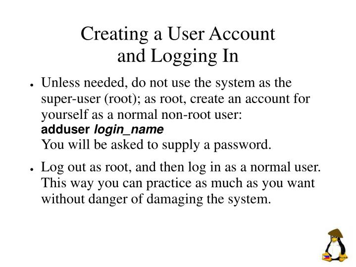 Creating a User Account