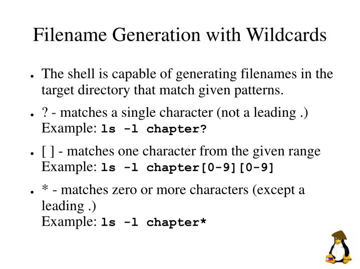 Filename Generation with Wildcards