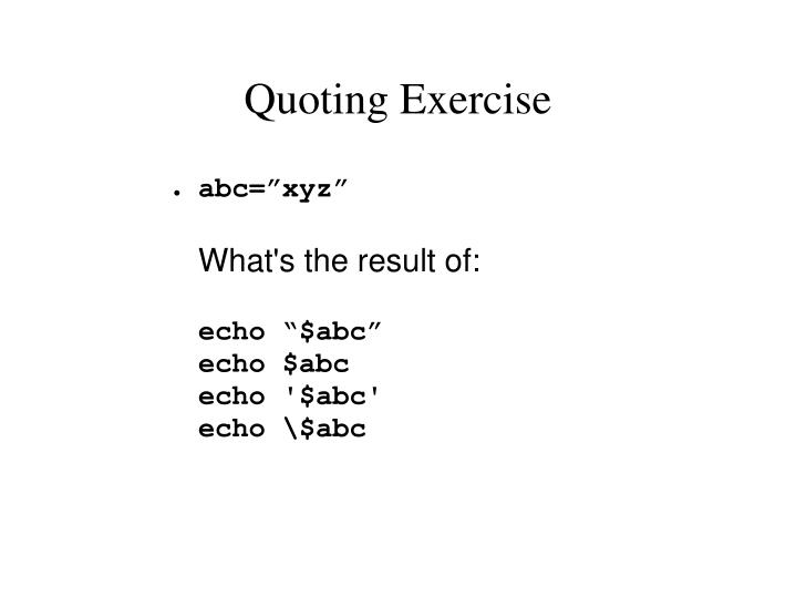 Quoting Exercise