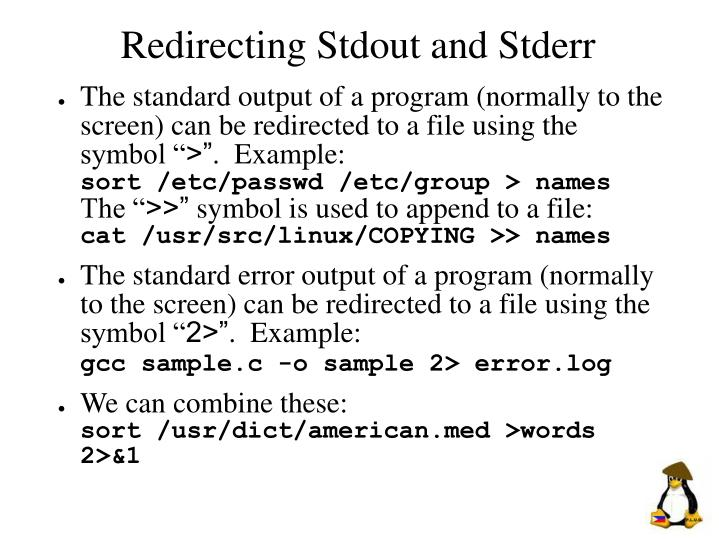 Redirecting Stdout and Stderr
