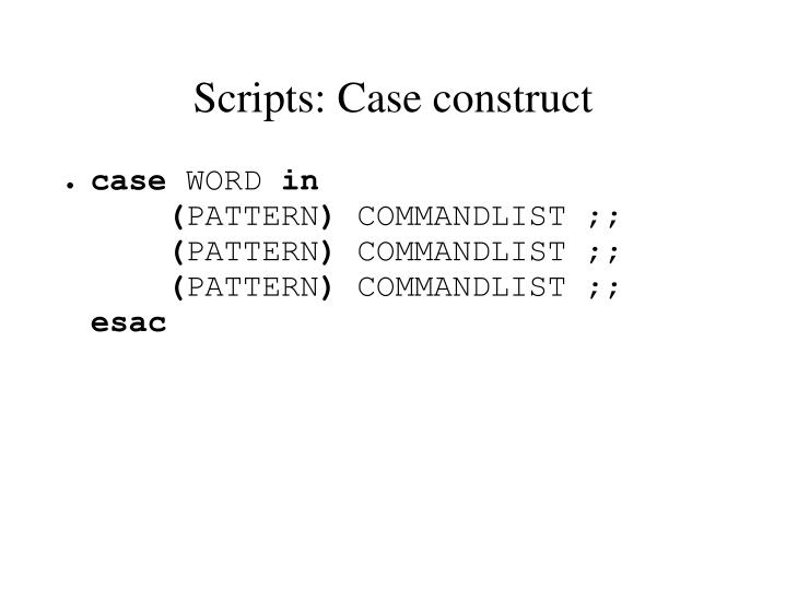 Scripts: Case construct