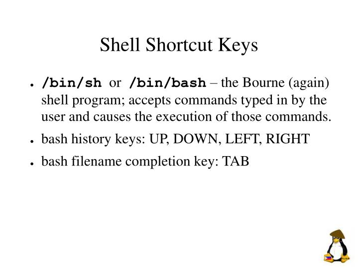 Shell Shortcut Keys