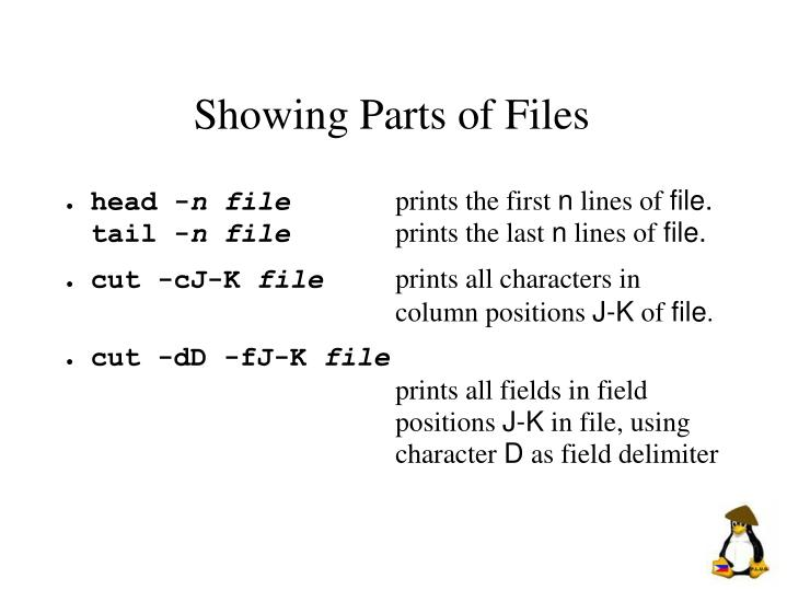 Showing Parts of Files