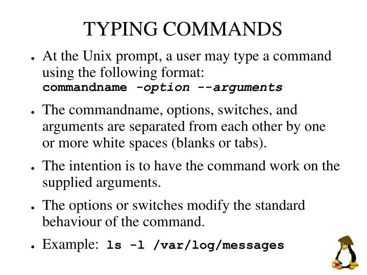 TYPING COMMANDS