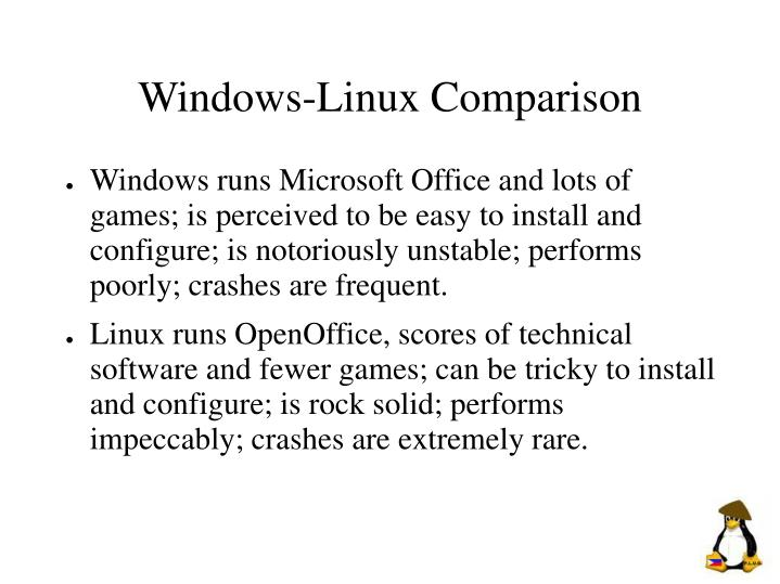 Windows linux comparison