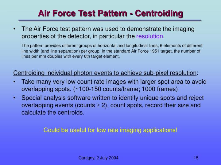 Air Force Test Pattern - Centroiding
