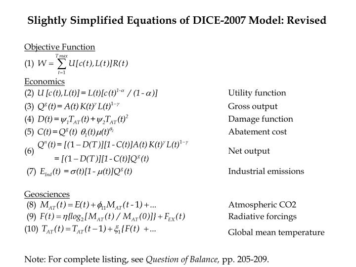 Slightly Simplified Equations of DICE-2007 Model: Revised