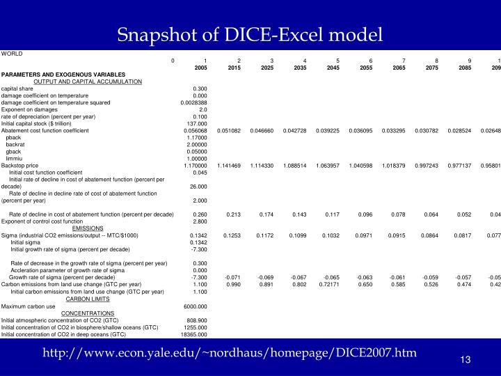 Snapshot of DICE-Excel model