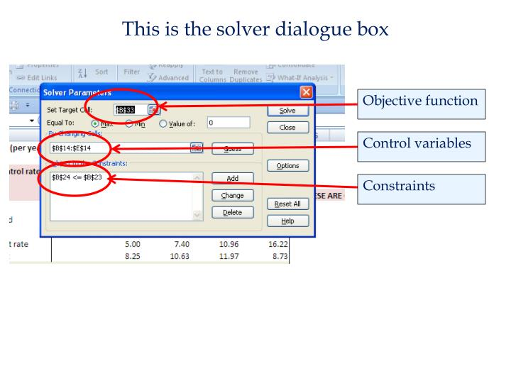 This is the solver dialogue box